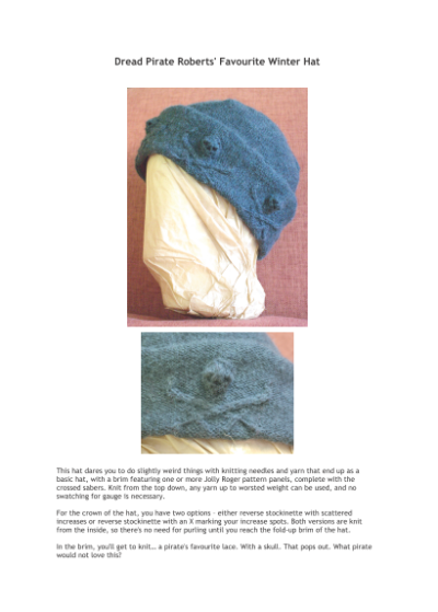 Dread Pirate Roberts' Favourite Winter Hat (printed knitting pattern)
