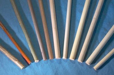 von links nach rechts: Hasel, 2x Weide, 2x Nußbaum, Buche, Birke, Fichte, Eiche, Esche, Linde; from left to right: Hazel, 2x Willow, 2x Walnut, Beech, Birch, Fir, Oak, Ash, Lime